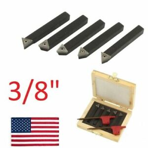 5 Pc 3 8 Lathe Indexable Carbide Insert Turning Tooling Bit Holder Set