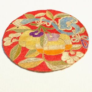 Colorful Antique Chinese Roundel Silk Embroidery Textile Badge
