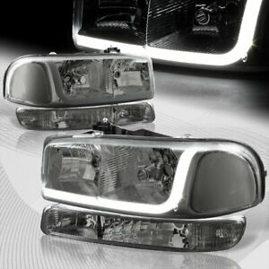 For 1999 2006 Gmc Sierra 1500 2500 Drl Led Smoke Clear Headlights bumper 4pcs