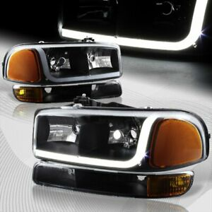 For 1999 2006 Gmc Sierra 1500 2500 Drl Led Black Amber Headlights bumper 4pcs