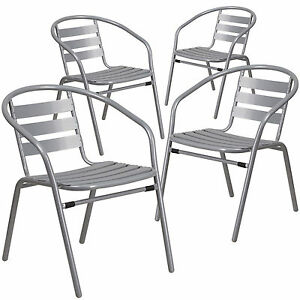 Lot Of 4 New Silver Metal Restaurant Indoor outdoor Stack Chair