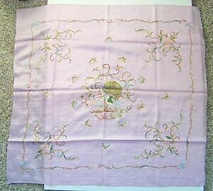 Antique Vintage Chinese Silk Embroidered Peacock Scarf Light Purple Pink