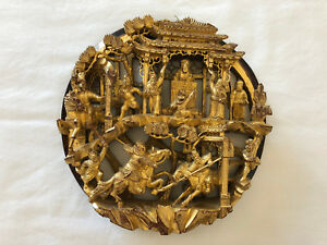 Antique Chinese Warriors And Temple Gilt Wood Relief