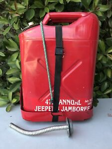 Vintage Dot 5l Red 5 Gallon Metal Jerry Gerry Gas Fuel Can Jeep Mount