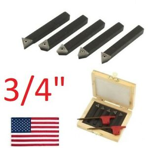 5 Pc 3 4 Lathe Indexable Carbide Insert Turning Tooling Bit Holder Set Usa