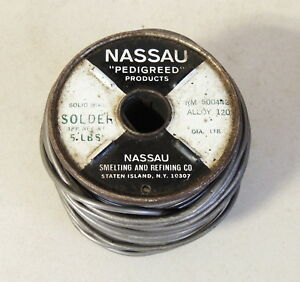 Vintage Nassau Solid Wire Solder western Electric 7 Pounds 6 Oz On 5 Lbs Spool