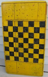 Antique Wooden Gameboard Checkerboard Old Yellow Black Paint