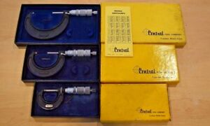 Central Tools Micrometer 3pc Set 12r 22rl 32rl pre Owned