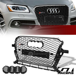 For 2013 2017 Audi Q5 Blk Chrome Rs Honeycomb Mesh Front Bumper Grill Grille Abs