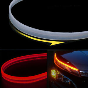 2x 10w 2colors Red Amber 60cm 24 Car Drl Signals Ribbon Style Led Light Strip