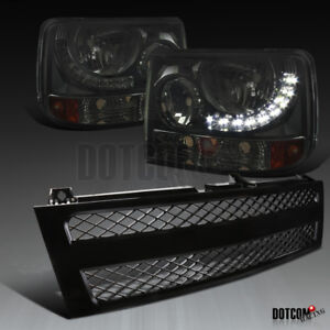 Chevy 1999 2002 Silverado 1500 2500 Smoke Led 1pc Headlights black Mesh Grille