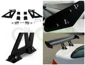 Universal 52 Adjustable Aluminum Gt Double Deck F1 Style Spoiler Wing Black