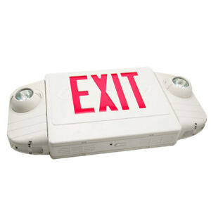 Slim Low Profile White Red Led Exit Sign With Battery Backup