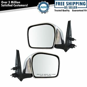 Mirror Manual Chrome Smooth Black Pair Set Of 2 For 01 04 Toyota Tacoma New