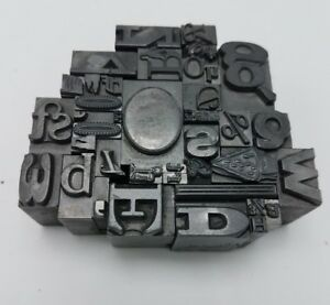 Vintage Paperweight From Fused Typeset Characters From A Printing Press Unique