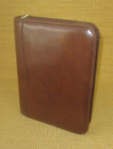 Classic desk 1 Rings Brown Leather Day timer Planner binder Franklin 109