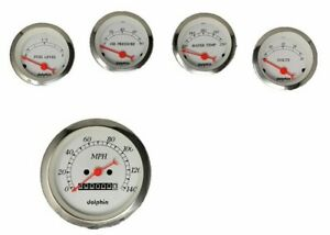 5 Gauge White Mechanical Speedometer Set Street Rod Hot Rod Universal
