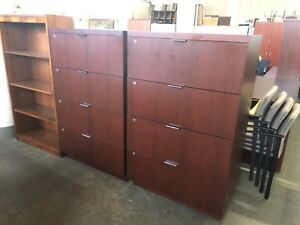 4dr 35 wx20 1 2 dx55 1 2 h Lateral File Cabinet In Cherry Finish Wood Veneer