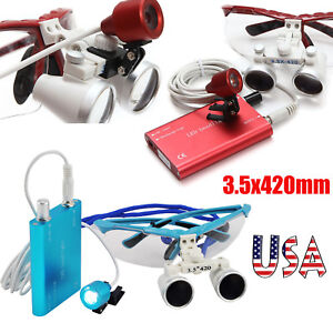 Red blue Dentist Dental Loupes 3 5x 420mm Surgical Binocular Led Head Light Lamp