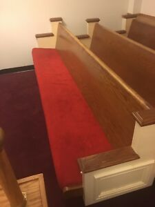 Good Condition Church Pew 10 Ft Padded Seat Lot Of 4