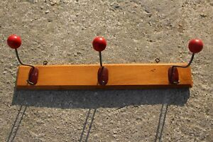 Authentic Vintage Wooden Coat Hat Wall Rack With 3 Hooks