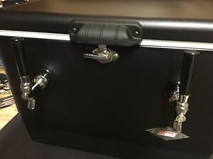 Matte Black Steel Double Jockey Box Draft Keg Beer Cooler Dual Coil Complete New