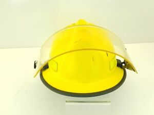 Morning Pride Hdolfcoohk Yellow V Fire Helmet With Face Shield Sz 6 9 5