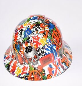 Custom Ridgeline Wide Brim Hard Hat Osha Hydro Dipped In Uk Speed Sticker Bomb