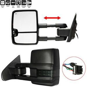 Pair Smoked Led Tow Mirrors For 15 17 Silverado Sierra 1500 2500 Hd Power Heated