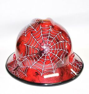 Msa V gard full Brim Hard Hat Hydro Dipped In Candy Apple Red Widow Bg