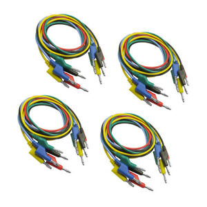 20pcs 5 Colors Stackable Double ended 4mm Banana Plug Test Leads Cable