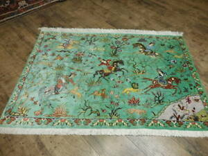 Super Super Fine Persian Hunting 100 Pure Natural Silk Qom Qum Ghom Rug 3x4