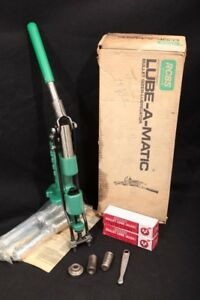 RCBS Reloading Lube-a-matic Sizer Two Dies .429 .358 Factory Box No Top Punches