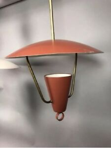Lightolier Red Mid Century Modern Saucer Brass Pendant Lamp Ceiling Light