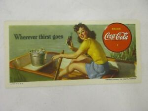 Vintage 1942 Coca Cola Original Ink Blotter Wherever thirst goes On the Water
