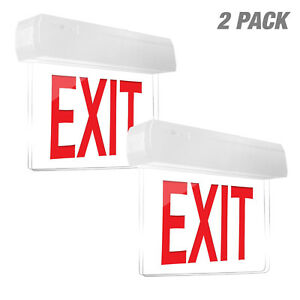 Led Red Compact Combo 2pcs Exit Sign Emergency Light High Output