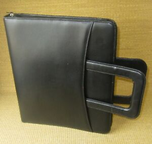 Monarch folio 1 25 Rings Black Sim Leather Franklin Covey Zip Planner binder