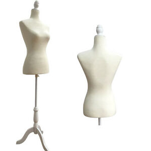 Female Mannequin Torso Dress Form Model Shop Display W White Tripod Stand