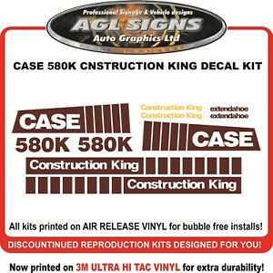 Case 580k Construction King Extendahoe Reprodction Decal Kit