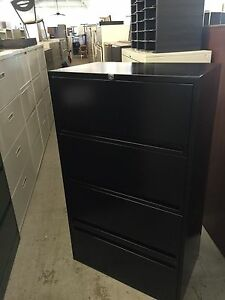 4 Drawer 30 w Lateral Size File Cabinet By Storwal W Lock Key In Black Color