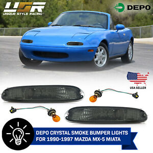 Depo Smoke Front Bumper Signal Lights Fit For 90 91 92 93 94 95 96 97 Mx 5 Miata