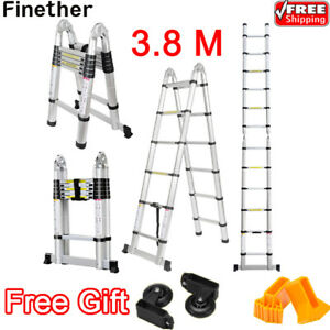 12 5ft Heavy Duty Aluminum Folding Telescopic Telescoping Extension Step Ladder