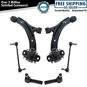 6 Piece Steering Suspension Kit Control Arms Ball Joints Tie Rods End Links