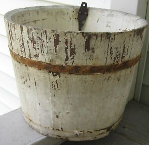 Antique Wooden Staved Sap Bucket Old White Paint Over Red 2 Bands