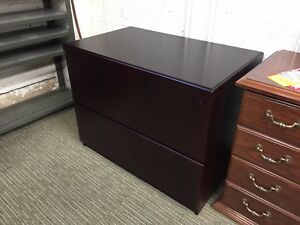 2dr 36 w Lateral File Cabinet By Kimball Office Furniture Inmahogany Finish Wood