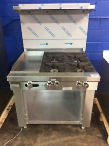 Southbend S361c 1gl Commercial 4 Eye Range And Flat Grill Natural Gas