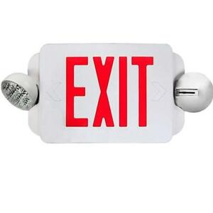 Red Led Exit Sign Emergency Light Combo With Battery Back up Etl Listed