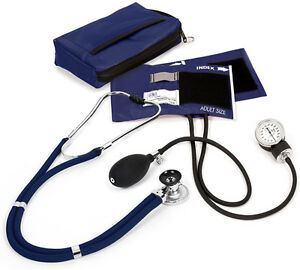Prestige Medical Sprague Stethoscope Bp Cuff Combo Kit Navy Blue Case New