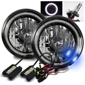 7 Round Black Crystal Hi Power White Smd Halo Ring Headlights 10000k H4 2 Hid