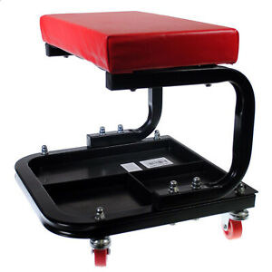 Rolling Mechanic Creeper Seat Onboard Storage Tool Tray Cart Shop Garage Auto
